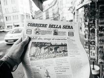 2017 Las Vegas Strip shooting newspaper Corriere della sera ital. PARIS, FRANCE - OCT 3, 2017: Man buying Corriere della Sera newspaper with socking title and Stock Photo