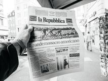 2017 Las Vegas Strip shooting newspaper La Republica Italian Pre Royalty Free Stock Images