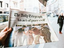 2017 Las Vegas Strip shooting newspaper The daily telegraph, Royalty Free Stock Images