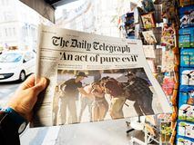 2017 Las Vegas Strip shooting newspaper The daily telegraph, Royalty Free Stock Photo
