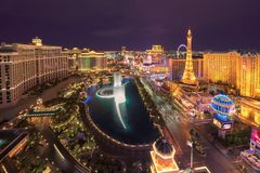 Aerial view of Las Vegas Strip at night Stock Photography