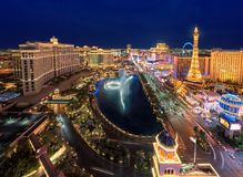 Las Vegas Strip skyline at night. On July 25, 2017 in Las Vegas, Nevada. The Strip is home to the largest hotels and casinos in the world stock photos