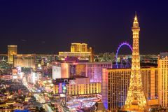 Las Vegas Strip skyline at night. On July 24, 2018 in Las Vegas, USA. The Strip is home to the largest hotels and casinos in the world royalty free stock images