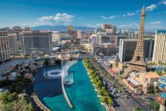 Las Vegas Strip skyline at sunny day. On July 25, 2017 in Las Vegas, Nevada. The Strip is home to the largest hotels and casinos in the world stock photography