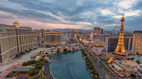 Las Vegas Strip skyline at sunset. Las Vegas Strip skyline at sunny day in Las Vegas, Nevada. The Strip is home to the largest hotels and casinos in the world stock images
