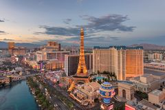 Las Vegas Strip skyline at sunset. On July 25, 2018 in Las Vegas, USA. The Strip is home to the largest hotels and casinos in the world royalty free stock photo
