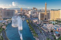 Las Vegas Strip skyline at sunset. World famous Las Vegas Strip at sunset on July 24, 2018 in Las Vegas, USA. The Strip is home to the largest hotels and casinos royalty free stock image