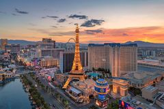 Las Vegas strip at sunrise. Aerial view of Las Vegas strip at sunrise on July 26, 2018 in Las Vegas, Nevada. Las Vegas is one of the top tourist destinations in royalty free stock photo