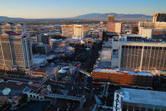 Las Vegas Strip at sunset. Viewed from top of Eiffel Tower Hotel royalty free stock images