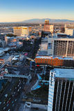 Las Vegas Strip at sunset. Viewed from top of Eiffel Tower Hotel royalty free stock photos