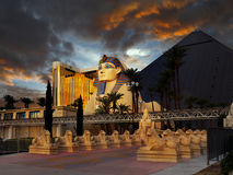 Las Vegas Strip, Sunset. Luxor Hotel and Casino, dramatic storm clouds sunset scene. Strip street view, Las Vegas. USA royalty free stock photos