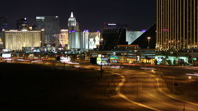 Las Vegas Strip and Traffic. Editorial time lapse view of Las Vegas resorts towers and traffic stock video