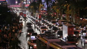 Las Vegas Strip Traffic Jam with Zoom stock footage