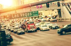 Las Vegas Strip Traffic. Afternoon Commute. Nevada, United States of America royalty free stock photography