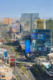 The Las Vegas Strip under the blue sky. LAS VEGAS - MAY 24: The Las Vegas Strip on May 24, 2013 in Las Vegas. It is about 6.8 km (4.2 miles) section of Las Vegas stock image