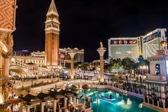 Las Vegas Strip and Venetian Hotel Casino at night - Las Vegas, Nevada, USA Royalty Free Stock Photo