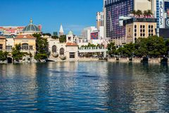 Las Vegas Strip, View from Bellagio Fountain.  stock images