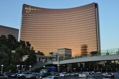 Las Vegas Strip - Wynn hotel at sunset Royalty Free Stock Image
