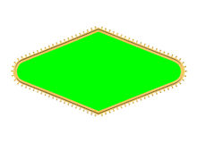 Las Vegas Style Bulb Diamond Sign Frame with Chroma Green. Las Vegas style diamond shape light bulb sign frame isolated with chroma green screen center Stock Image