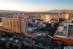 Las Vegas sunset skyline. Viewed from top of Eiffel Tower Hotel royalty free stock photo