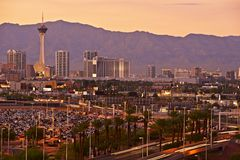 Las Vegas Sunset Skyline Royalty Free Stock Photography