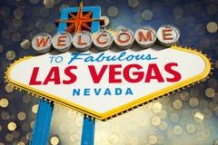Las Vegas tecken med bokehbakgrund Fotografering för Bildbyråer