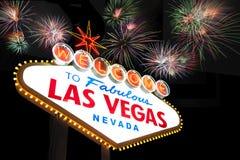 Las Vegas tecken med fyrverkerier Royaltyfria Bilder