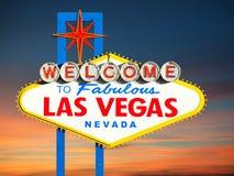 Las Vegas tecken på solnedgången Arkivbild