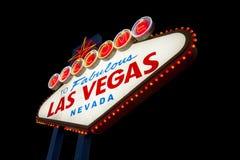 Las Vegas tecken på svart Royaltyfri Fotografi