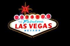 Las Vegas tecken på svart Arkivfoto