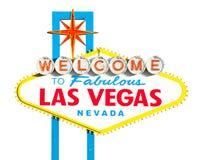 Las Vegas tecken på white Royaltyfria Bilder
