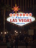Las Vegas welcome sign by night, Las Vegas, Nevada. Las Vegas is the 28th-most populated city in the United States and the county seat of Clark County. The city Stock Photos