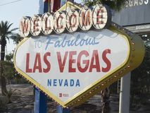Las Vegas welcome sign, Las Vegas, Nevada. Las Vegas is the 28th-most populated city in the United States and the county seat of Clark County. The city bills Stock Photography