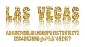 Las Vegas Toont het kleuren Gouden alfabet met lampen vector illustratie