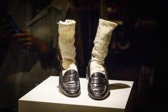 Las Vegas, U.S.A. - luglio 2016 scarpe e calzini di Florsheim del ` di Michael Jackson con la striscia di Las Vegas dei cristalli Fotografia Stock Libera da Diritti