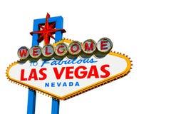 Las Vegas undertecknar på vit Arkivbild