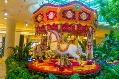 Las Vegas, United States of America - May 06, 2016: Flowers installation at the Wynn Hotel and casino. Las Vegas, United States of America - May 06, 2016 royalty free stock photography