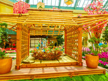 Las Vegas, United States of America - May 05, 2016: The Japanese flowering garden at luxury hotel Bellagio. At Las Vegas, United States of America royalty free stock photography