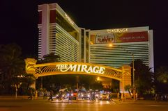 Las Vegas, United States of America - May 07, 2016: Mirage Hotel and Casino. At night at Las Vegas, United States of America on May 07, 2016 at the Strip in Las Royalty Free Stock Photography