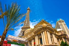 Las Vegas, United States of America - May 05, 2016: Replica Eiffel Tower in with clear blue sky. Las Vegas, United States of America - May 05, 2016: Replica stock images