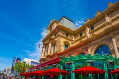 Las Vegas, United States of America - May 05, 2016: The view of Paris hotel at Las Vegas strip. Las Vegas, United States of America - May 05, 2016: A view of Royalty Free Stock Photos