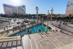 Las Vegas, US - April 27, 2018: Tourists visting the famous Venician hotel in Las Vegas as seen on a sunny day royalty free stock photography