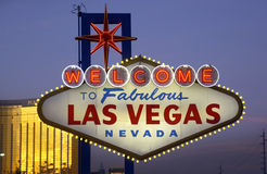 Las Vegas - USA. Welcome to Las Vegas sign at the entrance to 'The Strip' in Las Vegas in Nevada in the United States of America