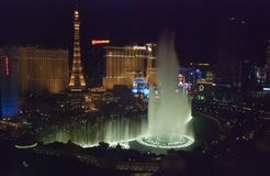 LAS VEGAS, USA - The Bellagio Fountains at night Royalty Free Stock Photos