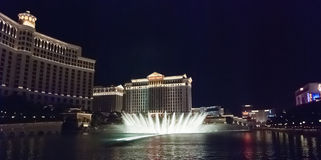 LAS VEGAS, USA - The Bellagio Fountains at night Royalty Free Stock Image