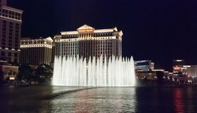 LAS VEGAS, USA - The Bellagio Fountains at night Royalty Free Stock Photo