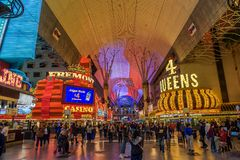 Fremont Street with many neon lights and tourists in Las Vegas Royalty Free Stock Image