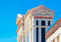 LAS VEGAS, USA - JANUARY 31, 2018: View of the facade of the hotel Caesars Palace. Isolated on blue background royalty free stock image
