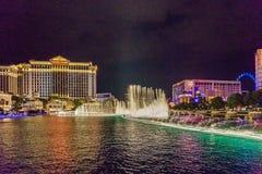 Las Vegas USA - Juli, sikt 2016 av den Las Vegas remsan på natten i Nevada USA Royaltyfri Bild