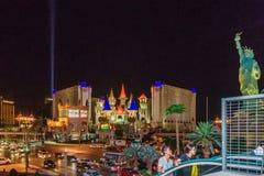 Las Vegas USA - Juli, sikt 2016 av den Las Vegas remsan på natten i Nevada USA Royaltyfria Bilder